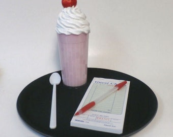 diner car hop strawberry or chocolate shake set great prop for dancers