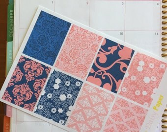 Navy and Coral Floral Full Box Decor Boxes!