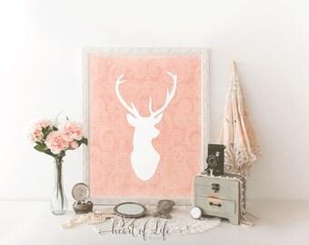 Deer printable art, Deer antler wall decor, Coral orange deer head print, Woodland girl nursery art print, Shabby chic deer head printable