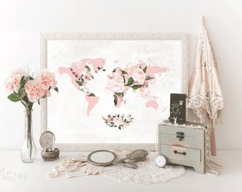 Floral world map etsy printable map art floral map wall decor world map with flowers map for girl nursery pink sciox Choice Image