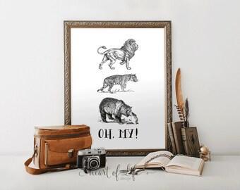 Printable art Animal art print Lion print Tiger art print Bear print Wizard of Oz art print Party printable Animals art HEART OF LIFE Design