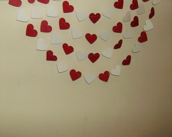 Red and White Hearts Garland, Red  and White Hearts, Hearts Garland, Bridal Shower, Wedding, Anniversary, Birthday