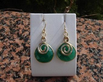Green Onyx in 585-er Goldfilled earrings!