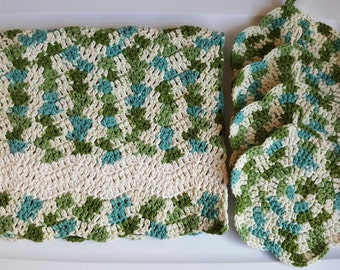 Towel and Dish Cloths, Hanging Towel, Off-White Towel, Blue Towel, Green Towel, Crochet Kitchen Set, Crochet Dish Cloth, Crochet Hand Towel