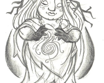 4x6 inch gnome woman goddess fantasy art print, Gnomish Forest Goddess