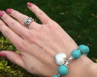 CHUNKY TURQUOISE bead stretch bracelet 925 Silver heart charm blue Turquoise gemstone bracelet boho bracelet December Birthstone jewelry