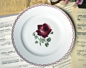 French Antique Ironstone Red Rose Stencilware Round Serving Plate Platter