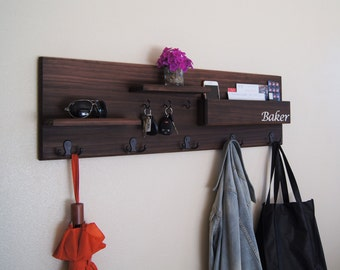 Coat Rack Wall Mounted with Mail Storage Coat Hooks and Key Hooks Entryway Organizer