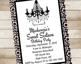 Pink Black Lace Chandeiler Sweet 16 Sixteen Birthday Party Invitation