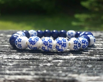 Polish Pottery Blue or Purple Ceramic Bracelet, ceramic beads, floral bracelet, floral pattern, stretch bracelet, blue flower bracelet