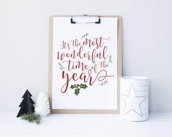 Christmas printable decor, It's the most wonderful time of the year, Christmas Sign, Holiday typography decor, Red and Green decor