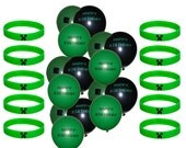 "Set of 10 Green Creeper Minecraft Bracelets & 15 Misc Unbranded 12"" Natural Latex Balloons (5 of each design) - Birthday Party Decorations"
