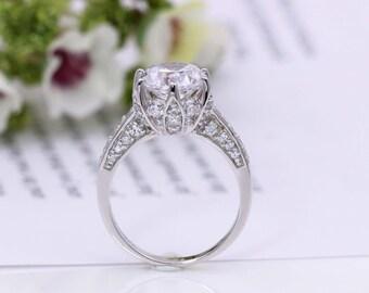 lotus engagement ring flower wedding ring rose ring sterling silver ring cubic zirconia ring promoise ring unique engagement ring - Lotus Wedding Ring