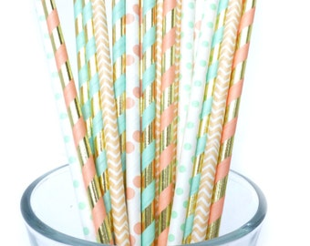 Peach and Mint Straws, Peach and Mint Wedding, Baby Shower, Bridal Shower Decor, Mint and Peach Wedding, Peach and Mint Baby Shower, 25 Pcs
