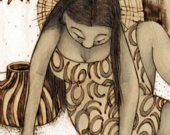 Turtle Girl, Hawaiian, sea turtle,sea life, beach, Art Print, Ready to Hang, Canvas, 10x20