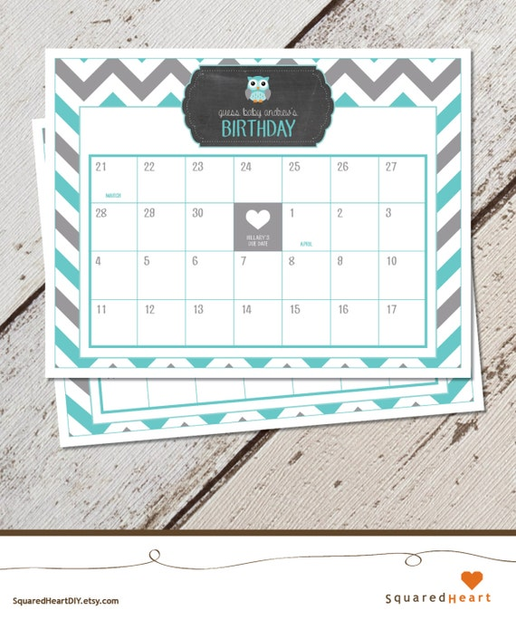 owl baby shower calendar owl due date calendar owl teal gray