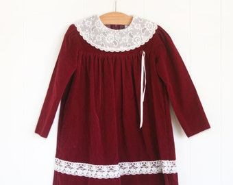 Girls Christmas Dress // Size 4T Vintage Dress for Girls // Girls Velvet Vintage Christmas Dress