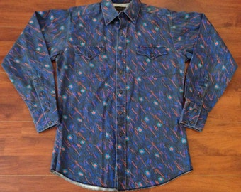 90's Panhandle Slim Particle in Space Western Shirt - M