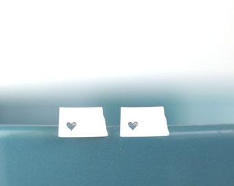 North Dakota Studs, I heart North Dakota, North Dakota earrings