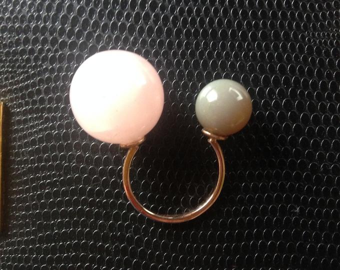 Rose Quartz ring Quartz ring Agate ring Cuff ring Natural stone ring Open ring Pink stone ring