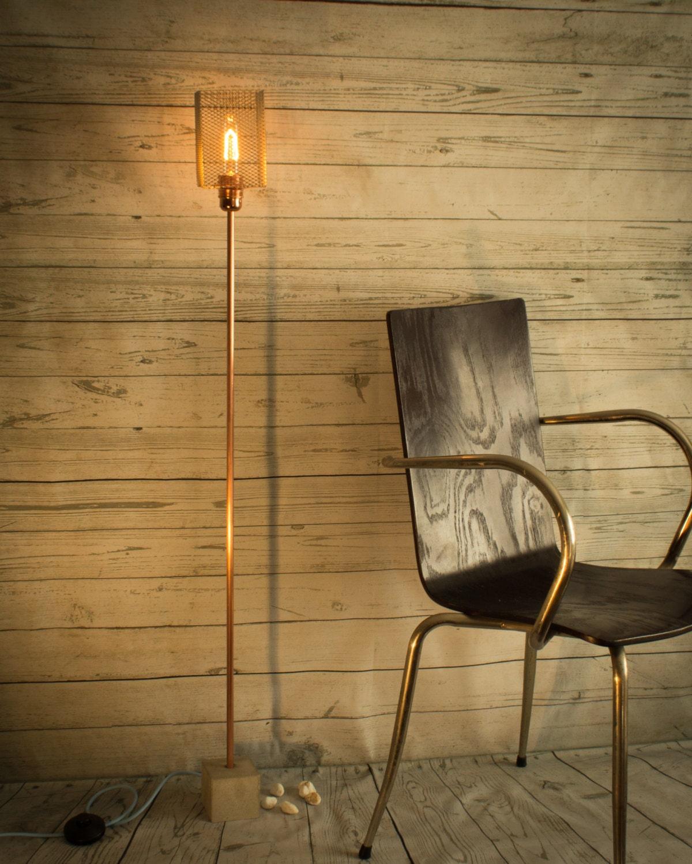 industrial concrete copper floor lamp industrial lamp floor. Black Bedroom Furniture Sets. Home Design Ideas