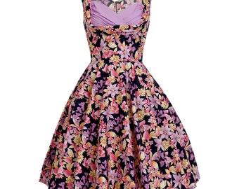 1950s Party Dress Purple Floral Bridesmaid Dress Vintage Style Dress Summer Dress Rockabilly Dress Pin Up Dress Prom Dress Plus Size Dress