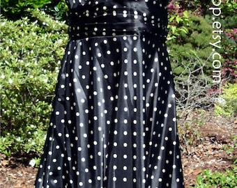RETRO Polka Dots DRESS! Rockability 1950s style, Black & White, Red trim, sleeveless V-neck knee-length, Marilyn pin-up, Vintage 1980s, S/P