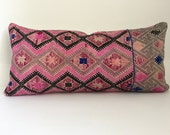Chinese Embroidered Pillow Cover, Vintage, Textile, Ethnic, Handwoven, Lumbar