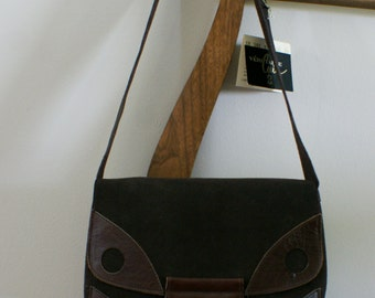 Brown Suede & Leather Vintage Messenger Bag Made of Canadian Leather NWT Deadstock Hippie Boho M-794