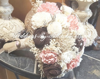 Sola Flower Pink Chocolate Brown Ivory Bouquet, Burlap Lace Ivory Bouquet, Alternative Bouquet,Rustic Shabby, Sola Flowers, Keepsake Bouquet