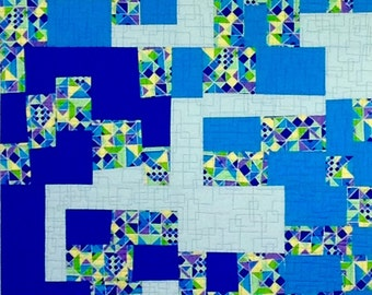 Blue Building Blocks quilted wallhanging