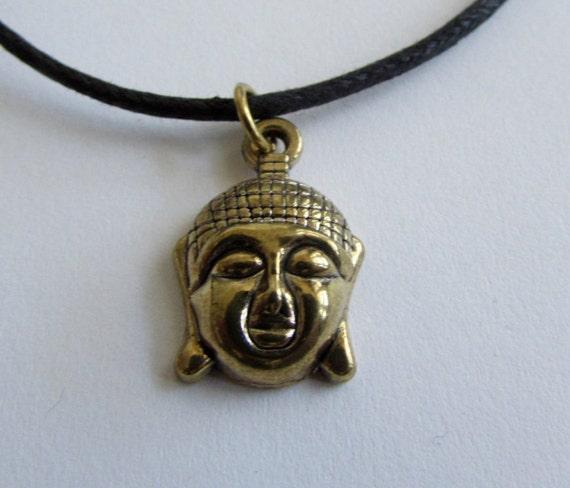 Buddha brass pendant On Wax Cord Yoga Jeweller Buddist Adjustable Unisex Free UK Shipping + Gift Bag