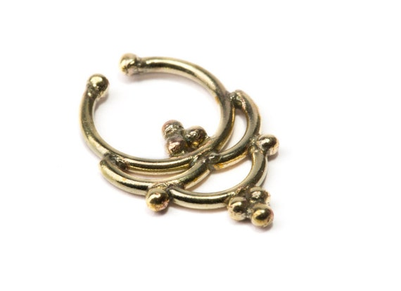 Septum Ring Brass Nickel Free Septum Fake Septum Tribal Jewelery Indian Nose Ring B19 Gift Boxed and Gift Bag Free UK Delivery
