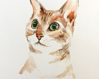 Original Watercolor Painting Cat, Cat Painting, 8x10, Watercolor Cat Painting, Cat Art