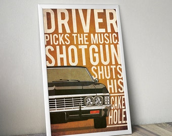 Supernatural poster alternative poster Chevrolet Impala poster Crime show poster Thriller 60s poster 60s car poster Chevrolet poster