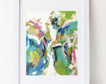 Modern Art Print , Abstract Print, 8x10, 12x15, pink, lime, aqua, marendevineart