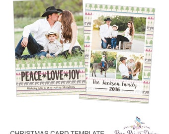 Christmas Card Photoshop Template - Peace Love Joy - 5x7 Photo Card - INSTANT DOWNLOAD or Printable - CC44