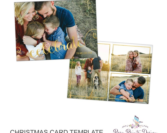 Christmas Card Photoshop Template - 5x7 Photo Card - INSTANT DOWNLOAD or Printable - CC30