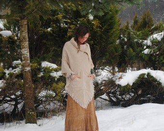 Woolen Poncho,Winter Poncho, Poncho with pockets, Poncho with frays, Woolponcho, warm winter poncho, Hippie wear, Indien wear,