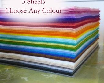 "Merino Wool Felt Sheets 8x12"" (20x30cm) You choose ANY 3 colours"