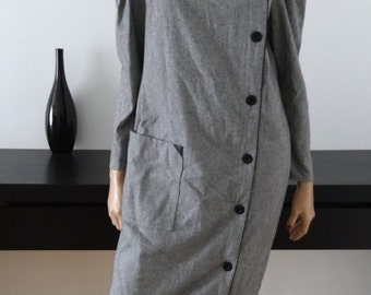 Robe manteau vintage chevrons gris taille 38/40 size 10/12 uk / us 6/8 - Made in France