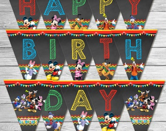 Mickey Mouse Clubhouse Birthday Banner Chalkboard // Mickey Mouse Clubhouse Happy Birthday Banner // Mickey Mouse Clubhouse Party Favors