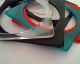 Set of Six 1960s Lucite/Plastic Colored Square Bracelets