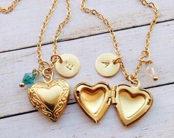 Girls Lockets Tiny Heart Locket / Initial Heart Necklace Childrens / Little Heart Locket / Child Locket / Birthstone Locket for Girls