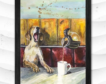 Dog Cofe print of the Original Painting Watercolor Cute  Sweet Dog in the Cafe