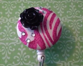 Pink & White Zebra Print Retractable Badge Reel,Bling,ID Holder,Belt Clip,Designer ID,Personalized,Teacher,Medical,RN,Cna,Ma,Moa,Lpn,Pa,Tech