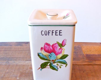 Vintage ceramic coffee canister by Royal Sealy, hand painted vintage kitchen decor and housewares