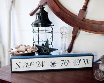 Custom Made Nautical Sign (with YOUR Home's Latitude and Longitude)