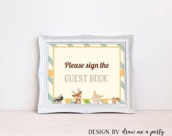 Woodland Baby Shower Guest Book Sign , Woodland Guest Sign ,  Forest Baby Shower , Boy Baby Shower , Printable , Instant Download