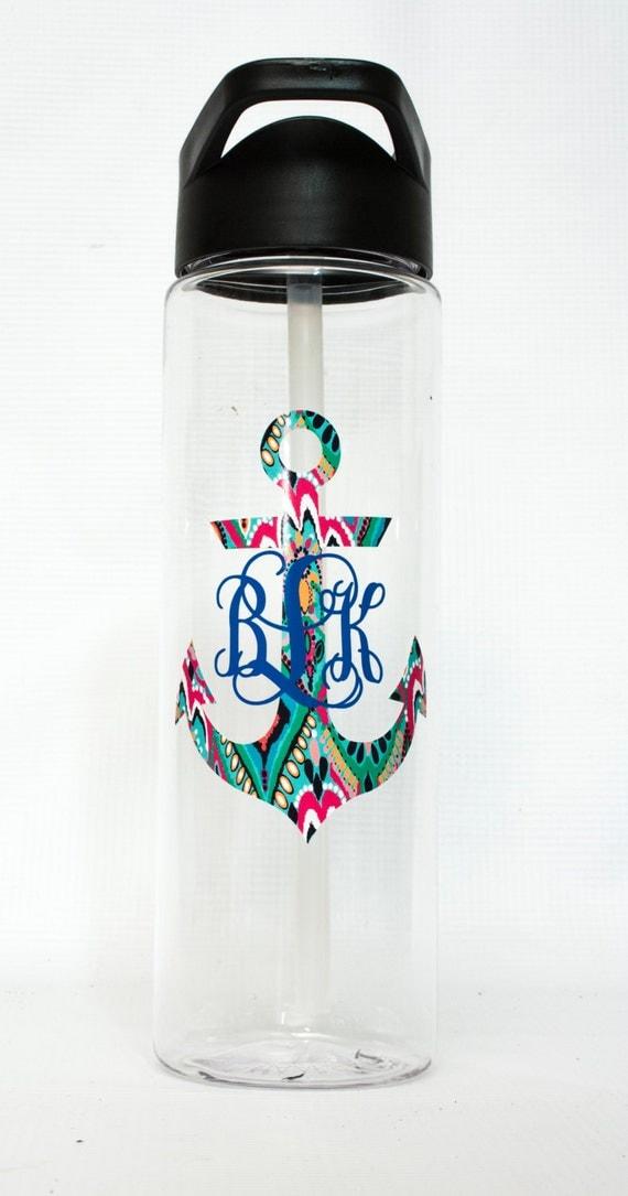 Motivational Water Bottle Lilly Pulitzer Monogram Large 25